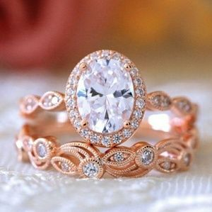 Vintage Art Deco Oval Halo Sapphire Rose Gold Ring